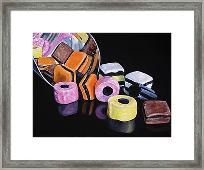 Scoop Of Licorice Allsorts Candy Framed Print by Lillian  Bell