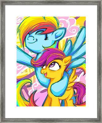 Scootaloo And Rainbow Dash Framed Print by Sarah Bavar