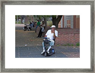 Scooter In The Park Framed Print