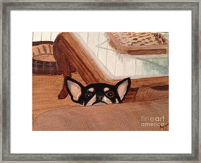 Scooter Peeking Over Couch Framed Print by Michelle Treanor