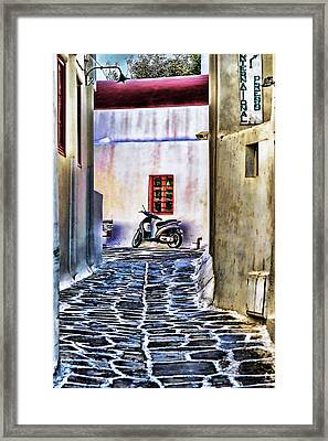 Scooter Mykonos Greece Framed Print