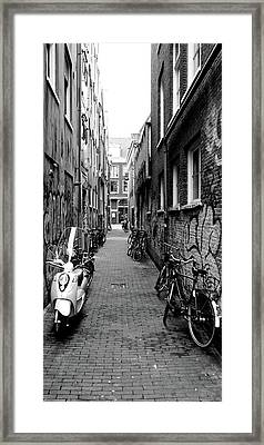 Scooters And Bicycles Parked Framed Print by Panoramic Images