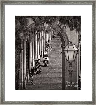 Scooters And Bikes Framed Print by Prints of Italy