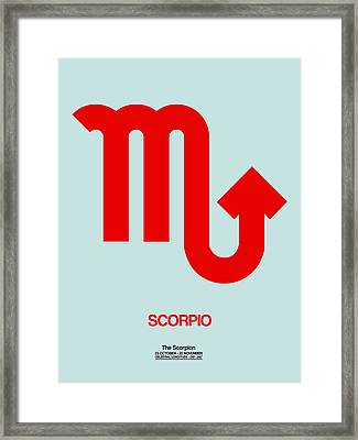 Scorpio Zodiac Sign Red Framed Print