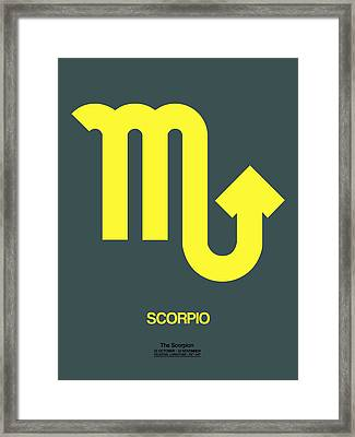 Scorpio Zodiac Sign Yellow Framed Print by Naxart Studio
