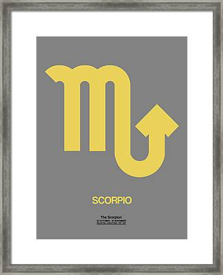 Scorpio Zodiac Sign Yellow On Grey Framed Print