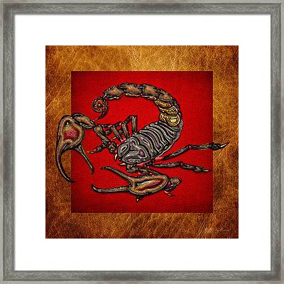 Scorpion On Red And Brown Leather Framed Print