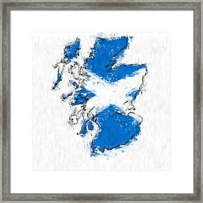 Scotland Painted Flag Map Framed Print