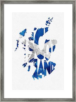 Scotland Typographic Map Flag Framed Print by Ayse Deniz