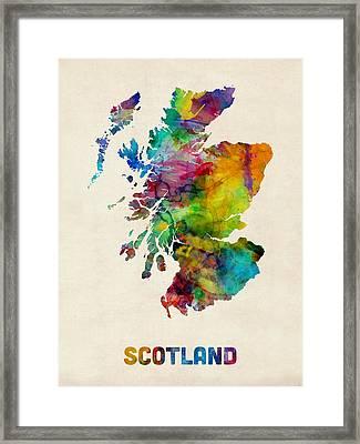Scotland Watercolor Map Framed Print