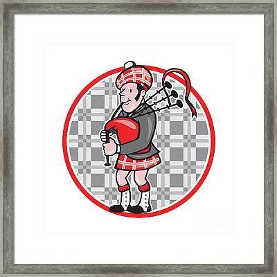 Scotsman Bagpiper Playing Bagpipes Cartoon Framed Print