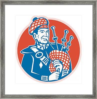 Scotsman Scottish Bagpiper Retro Framed Print by Aloysius Patrimonio