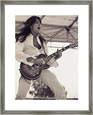 Scott Gorham Of Thin Lizzy Black Rose Tour At Day On The Green 4th Of July 1979  Framed Print