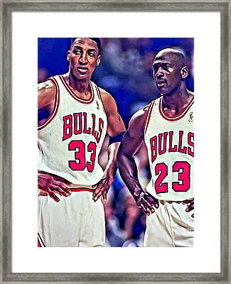 Scottie And Michael Framed Print by Florian Rodarte