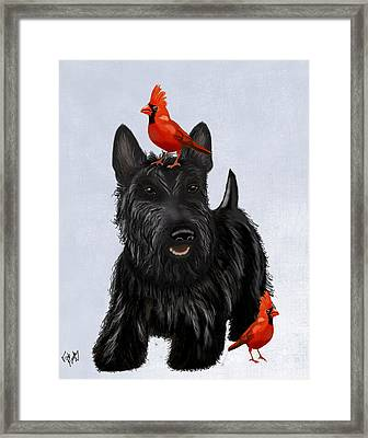 Scottie Dog And Red Birds Framed Print by Kelly McLaughlan