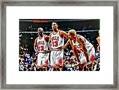 Scottie Pippen With Michael Jordan And Dennis Rodman Framed Print by Florian Rodarte