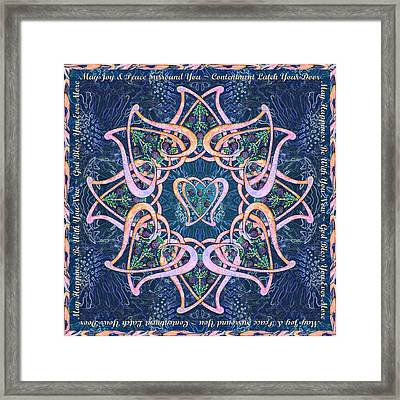 Scottish Blessing Celtic Hearts Duvet Framed Print