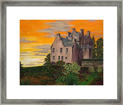 Scottish Gardens At Sunset Framed Print by Julia Robinson