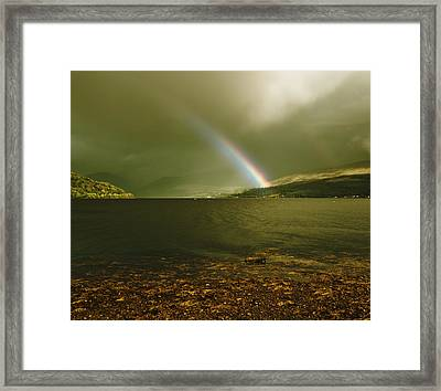 Framed Print featuring the photograph Scottish Rainbow On Loch Fyne by Jane McIlroy