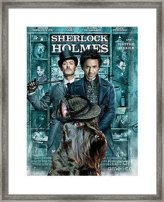 Scottish Terrier Art Canvas Print - Sherlock Holmes Movie Poster Framed Print