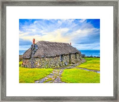 Scottish Thatched Cottage On Skye Framed Print