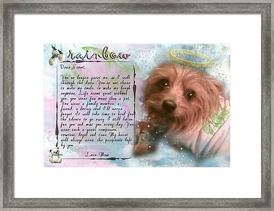 Scout In Rainbow Bridge Framed Print