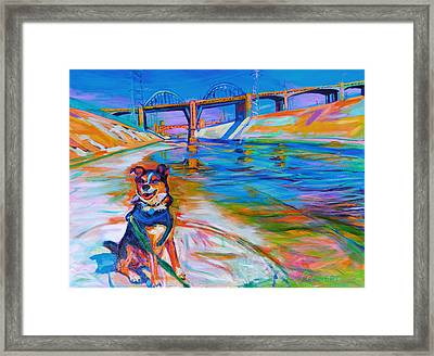 Scout The River Guard Framed Print by Bonnie Lambert