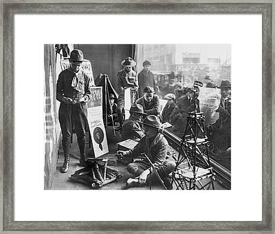Scouts Camp In Window Framed Print by Underwood Archives
