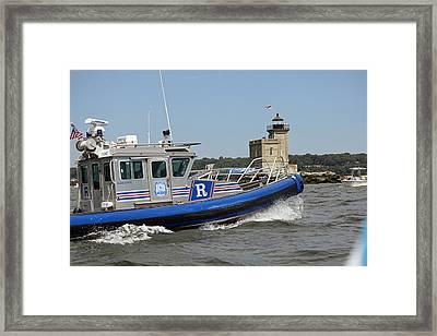 Scpd Boat @ Huntington Lighthouse Framed Print