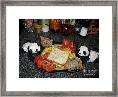 Scrambled Eggs Salami And Cheese For Breakfast. Travelling Baby Pandas Series. Framed Print by Ausra Huntington nee Paulauskaite