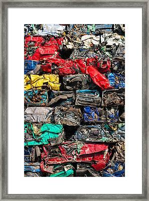 Scrap Cars Colorful Heap Framed Print by Matthias Hauser