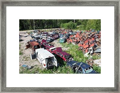Scrap Metal Dump In Fort Chipewyan Framed Print by Ashley Cooper