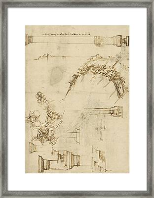 Screw Breech Bombard Decorative Geometrical Drawings Framework Of Self Supporting Military Bridge  Framed Print by Leonardo Da Vinci
