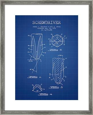 Screwdriver Patent From 1991 - Blueprint Framed Print by Aged Pixel