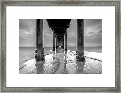 Framed Print featuring the photograph Scripps Pier Black And White by Robert  Aycock