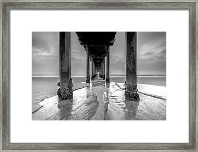 Scripps Pier Black And White Framed Print