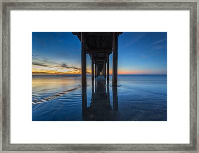 Scripps Pier Blue Hour Framed Print by Peter Tellone