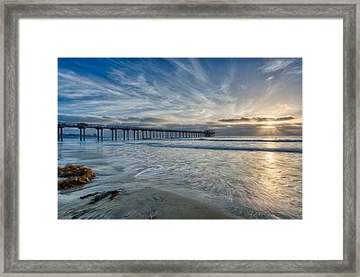 Scripps Pier Sky And Motion Framed Print by Peter Tellone