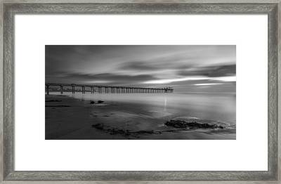 Scripps Pier Twilight - Black And White Framed Print by Peter Tellone