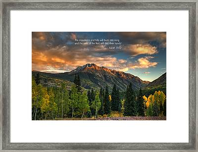Scripture And Picture Isaiah 55 12 Framed Print