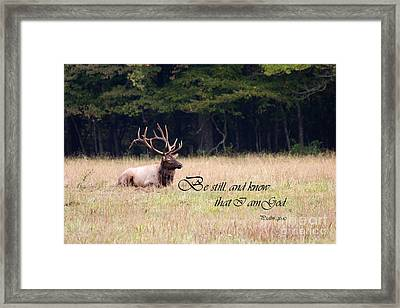 Scripture Photo With Elk Sitting Framed Print