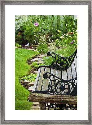 Scroll Bench Garden Scene Digital Artwork Framed Print by Sandra Foster