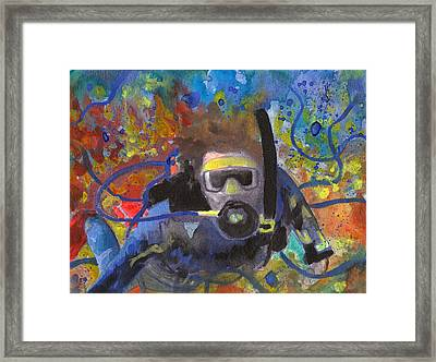 Scuba Diver Tangled Framed Print by Susan Powell