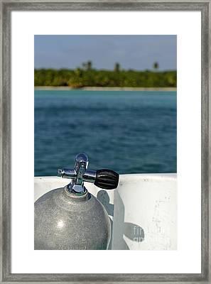 Scuba Diving Cylinder On Boat By Ocean Framed Print by Sami Sarkis