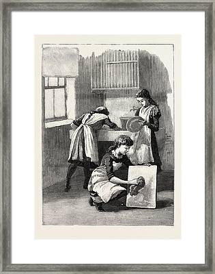 Scullery Work, Washing Up, School, London Framed Print