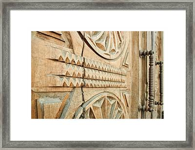 Sculpted Wooden Door Framed Print by Vlad Baciu