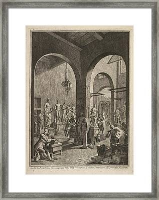 Sculptors At Work Framed Print by British Library