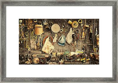 Sculptors Workbench Framed Print by Ron Regalado