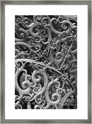 Sculpture Detail Vertical Bw Framed Print by Barbara Bardzik