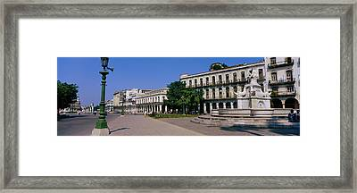 Sculpture In Front Of A Building Framed Print by Panoramic Images
